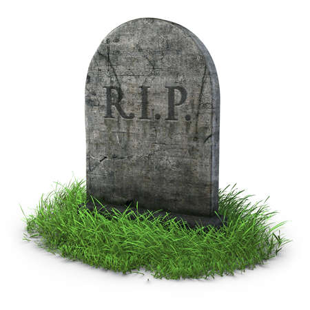 gravestone with grass on white background