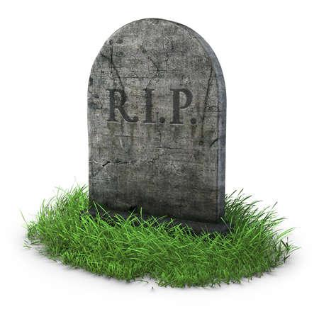 tumbas: l�pida con hierba sobre fondo blanco