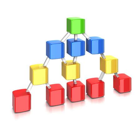 cubos de color en la jerarquía aislado  Foto de archivo
