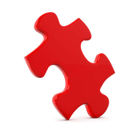 jigsaw puzzle: red puzzle piece isolated on white