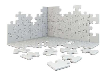 puzzle construction isolated on white Stock Photo - 7624837
