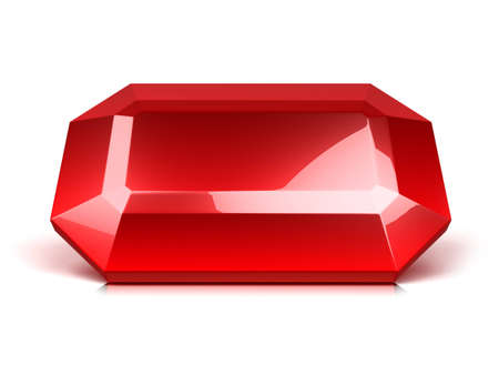 red ruby crystal isolated on white