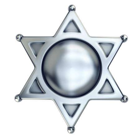 blank sheriff badge isolated on white