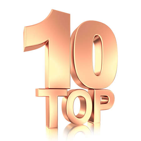 top ten gold title isolated  Stock Photo