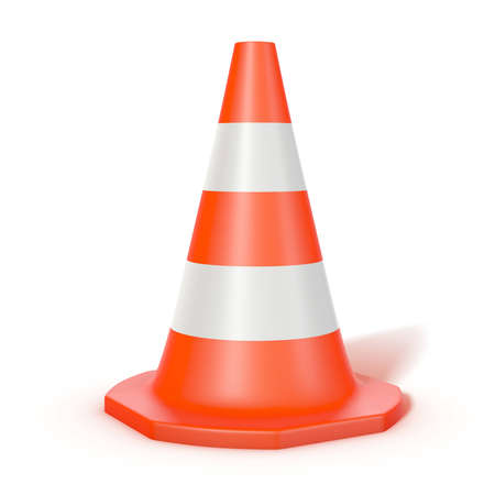 traffic cone  isolated on white Stock Photo - 7624795