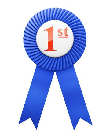 blue award ribbon badge isolated  Stock Photo