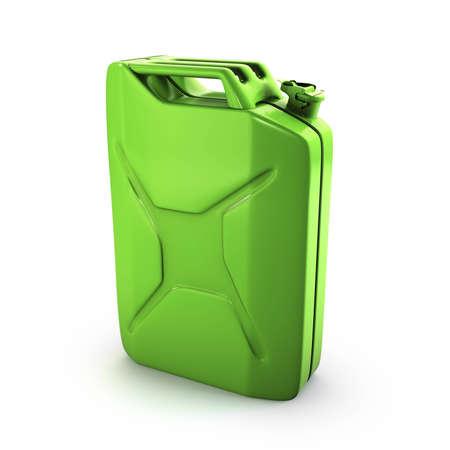 petrol can: combustible verde puede aislado en blanco
