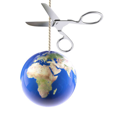 planet on rope cutting scissors Stock Photo - 9553435