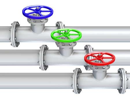color valves on white background
