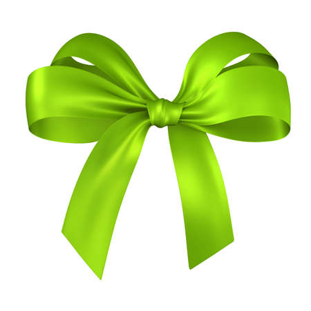 green ribbon bow isolated on white