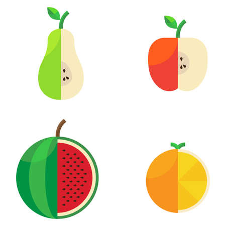 Different cut agricultural beautiful sweet fruit in a flat style Stock Illustratie