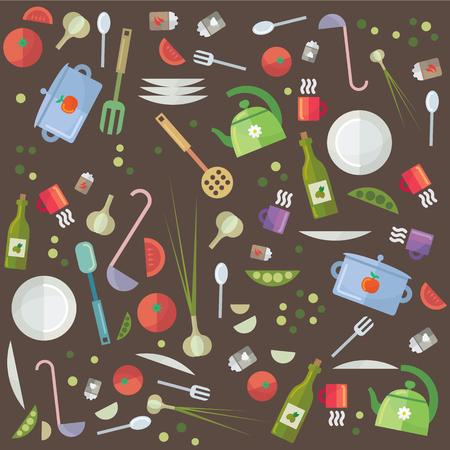 Creative ongemonteerd keukengerei verschillende opties voor het koken, accessoires en voedsel Stock Illustratie