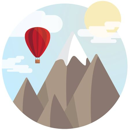 Mountain in a circle, with a balloon, clouds and blue sky
