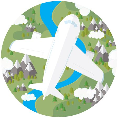 The plane in the sky over land with trees, mountains and river
