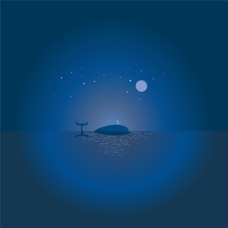 Big blue whale with reflection, swim in the ocean at night under the moon from the stars, and releases water fountain