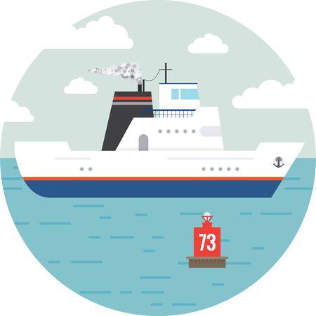 transportation facilities: Flat ocean and sea transport boat. Illustration