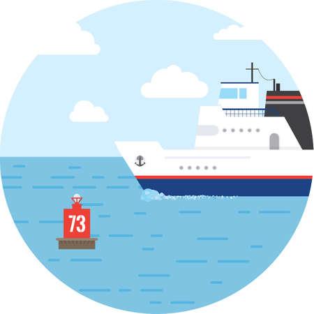 sea transport: Flat ocean and sea transport boat. Illustration