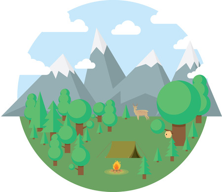 survive: Hiking and outdoor recreation concept with flat camping travel icons illustration. Illustration
