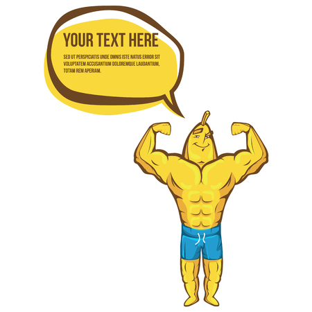 defined: Fitness banana shows biceps. Sport illustration