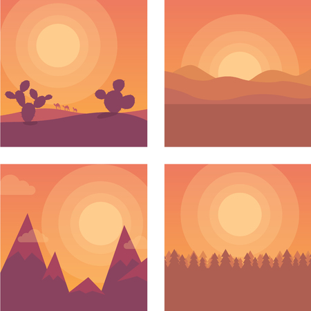 locations: Flat cartoon sunset landscape set. Different locations: desert, mountains and sea. Background illustration collection