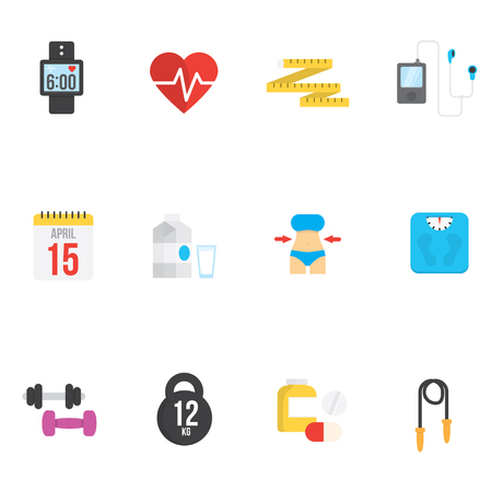 food hygiene: Fitness and health icons with white background.