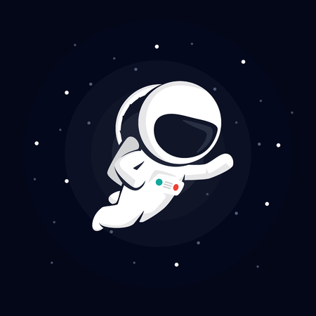 lost in space: astronaut in space among the stars on a dark background. illustration with starry background.