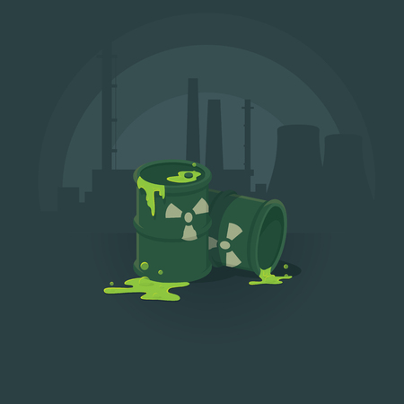 substances: barrels of toxic substances. Pollution of the environment radiation. illustration background. Illustration