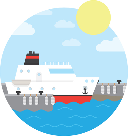 mooring anchor: Cruise ship in the port. Yacht on the water. illustration of round background.