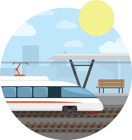 Estación de tren. Tren de alta velocidad en la estación de tren. ilustración de fondo redondo.
