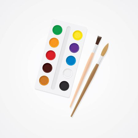 paintbox: Paintbox and brush. Watercolor creative concept. Paints for drawing.