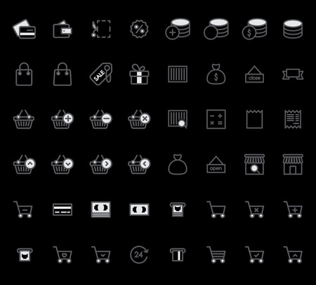 Set of Outline stroke Shopping icons Vector illustration Illustration