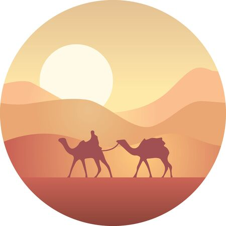 Bedouin leading a caravan of camels in the desert at sunset Illustration