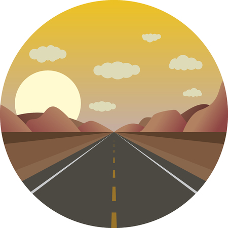 road ahead: straight road ahead at sunrise in the mountains Illustration