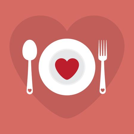 romantic: Greeting card love romantic dinner menu happy Valentine Day vector illustration. Pattern design. Flyer or invitation