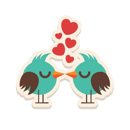 innamorati che si baciano: Greeting card love birds kissing happy Valentine Day vector illustration. Pattern design. Flyer or invitation Vettoriali