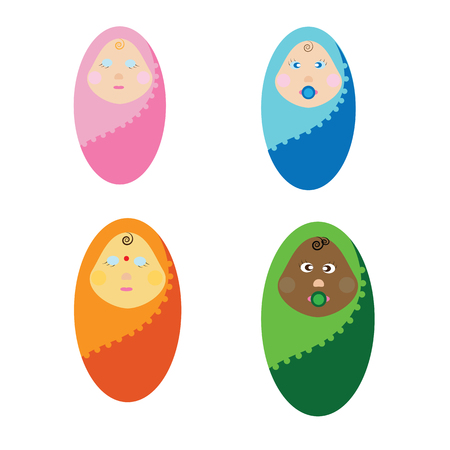 swaddle: vector illustration newborn children of different nations. The kids wrapped in a blanket. Little baby
