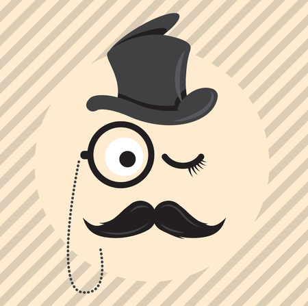 Retro, vintage gentleman in a hat cylinder with mustache and monocle icon isolated on light coloured background. Vector art