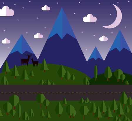 vector illustration Mountain landscape beside the road, the hills are covered with forests, moonlit night, stars in the sky