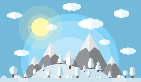 vector illustration of the high mountains and hills, the forest covered in snow, clear winter day, the sun in the clear sky with fluffy clouds Illustration