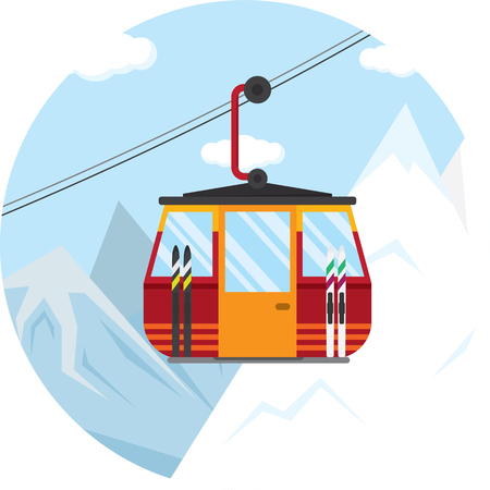 vector illustration of a ski lift cable car for the winter