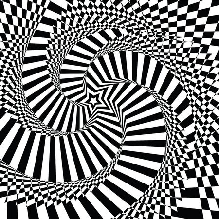 fallacy: vector illustration motley visual and optical illusion star-shaped black  white, twisted spiral Illustration