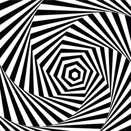 fallacy: vector illustration motley visual and optical illusion star-shaped black white, twisted spiral