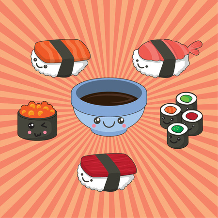 Vector illustration of sushi set in kawaii style. rolls with tuna, salmon, caviar soy sauce