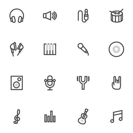 pop music: set of vector icons  musical instruments, microphone, records and discs, rock  pop Music  light background Illustration