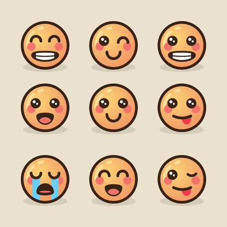 vector illustration style kawaii emoticons with various emotions on a light background