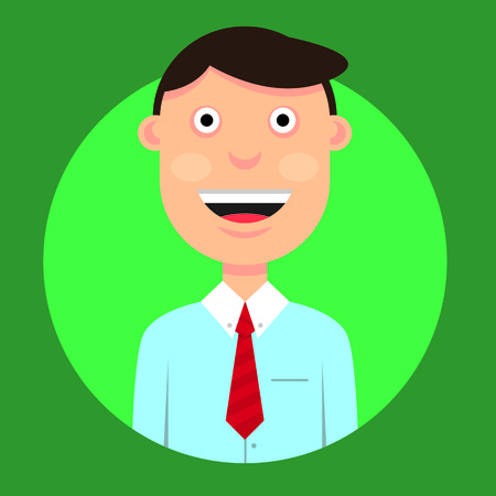 vector illustration of a character smiling man with dark hair in a shirt and tie in a good mood on the round green background