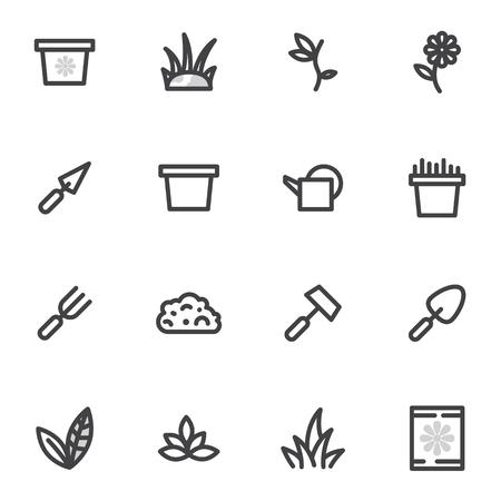 ensemble d'icônes vectorielles de jardinage, jardin, couleurs de reproduction sur fond clair Vecteurs