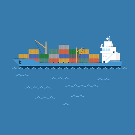 vector illustration barge cargo ship transporting containers floating on the sea. Stock Photo