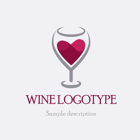 sommelier: vector illustration logo glass of red wine on a white background in the form of heart