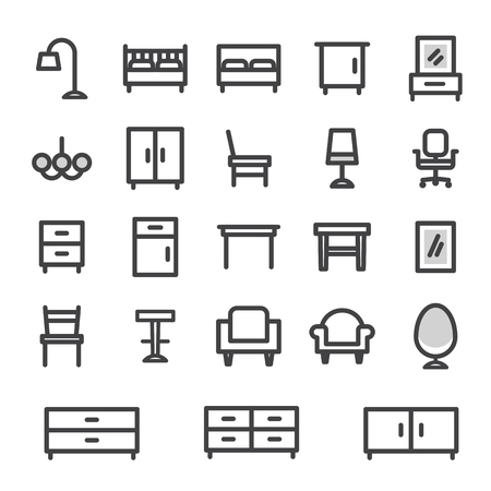 home office: vector icons set furniture for home and office interior